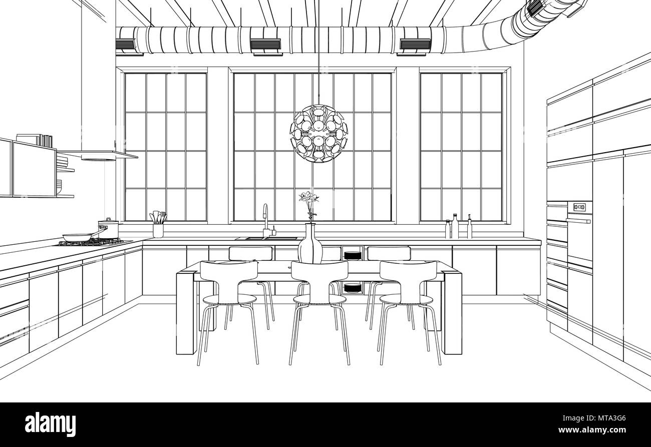 Drawing Skill Kitchen Interior Design Drawing