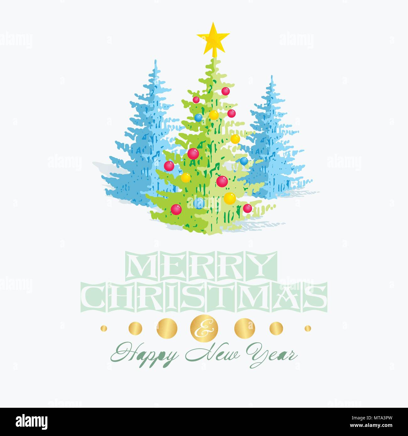 christmas card template with green and blue christmas tree decorations and star