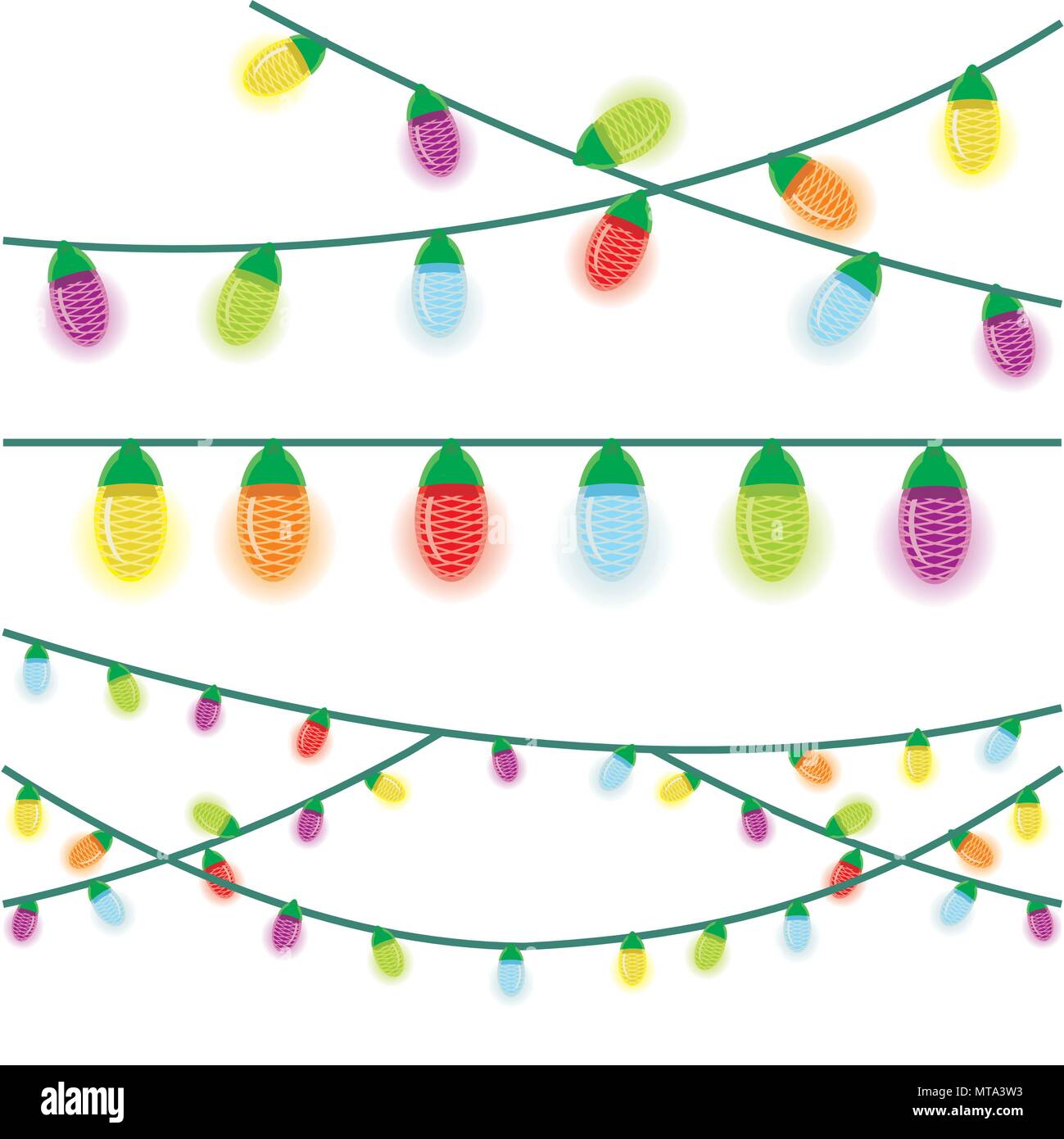 Multicolored Christmas lights illustrated on a white background ...