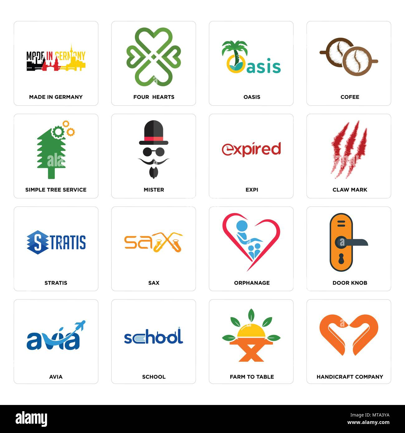 Set Of 16 simple editable icons such as handicraft company farm to table school avia door knob made in germany tree service stratis expi can b  sc 1 st  Alamy & Set Of 16 simple editable icons such as handicraft company farm to ...