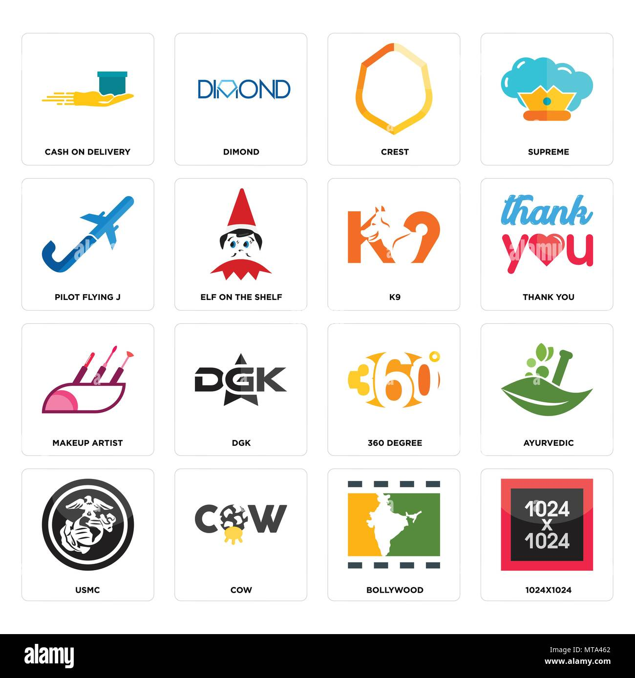 Set Of 16 Simple Editable Icons Such As 1024x1024 Bollywood Cow