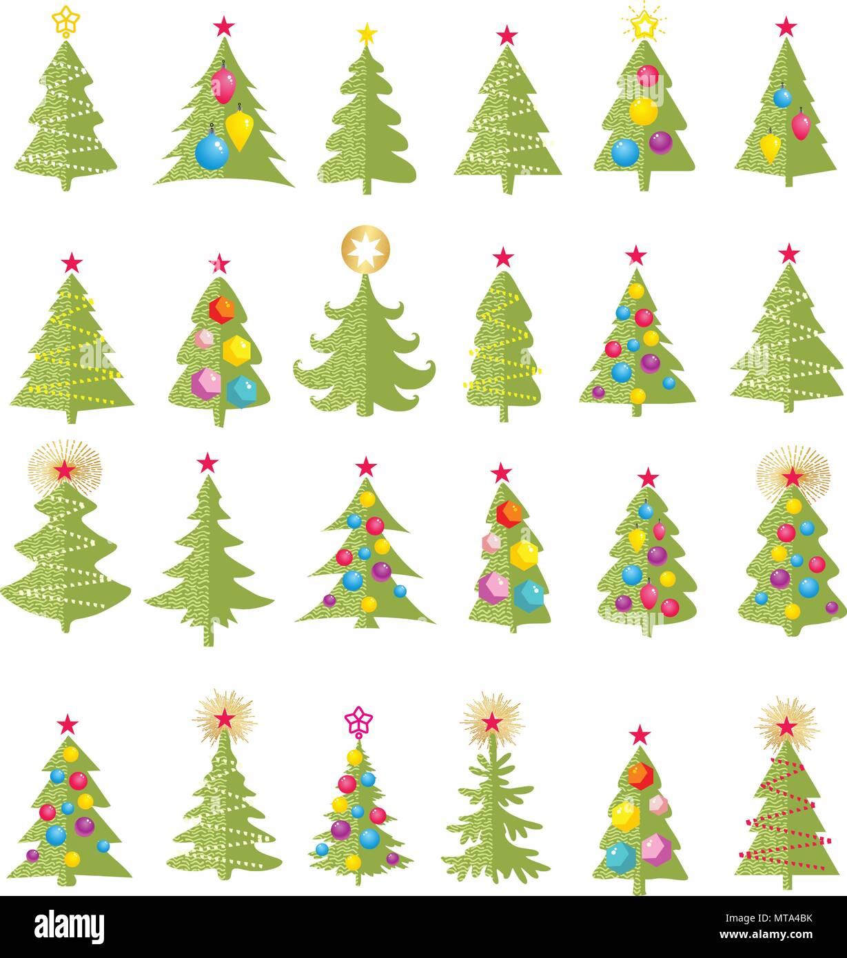 Set of different elegant christmas trees. Design elements of ...