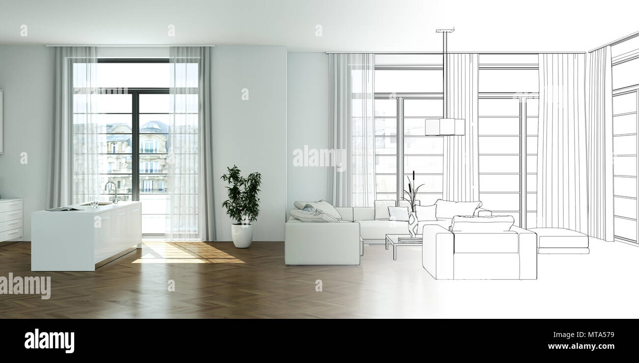 Interior Design Living Room Drawing Gradation Into Photograph & Interior Design Living Room Drawing Gradation Into Photograph Stock ...