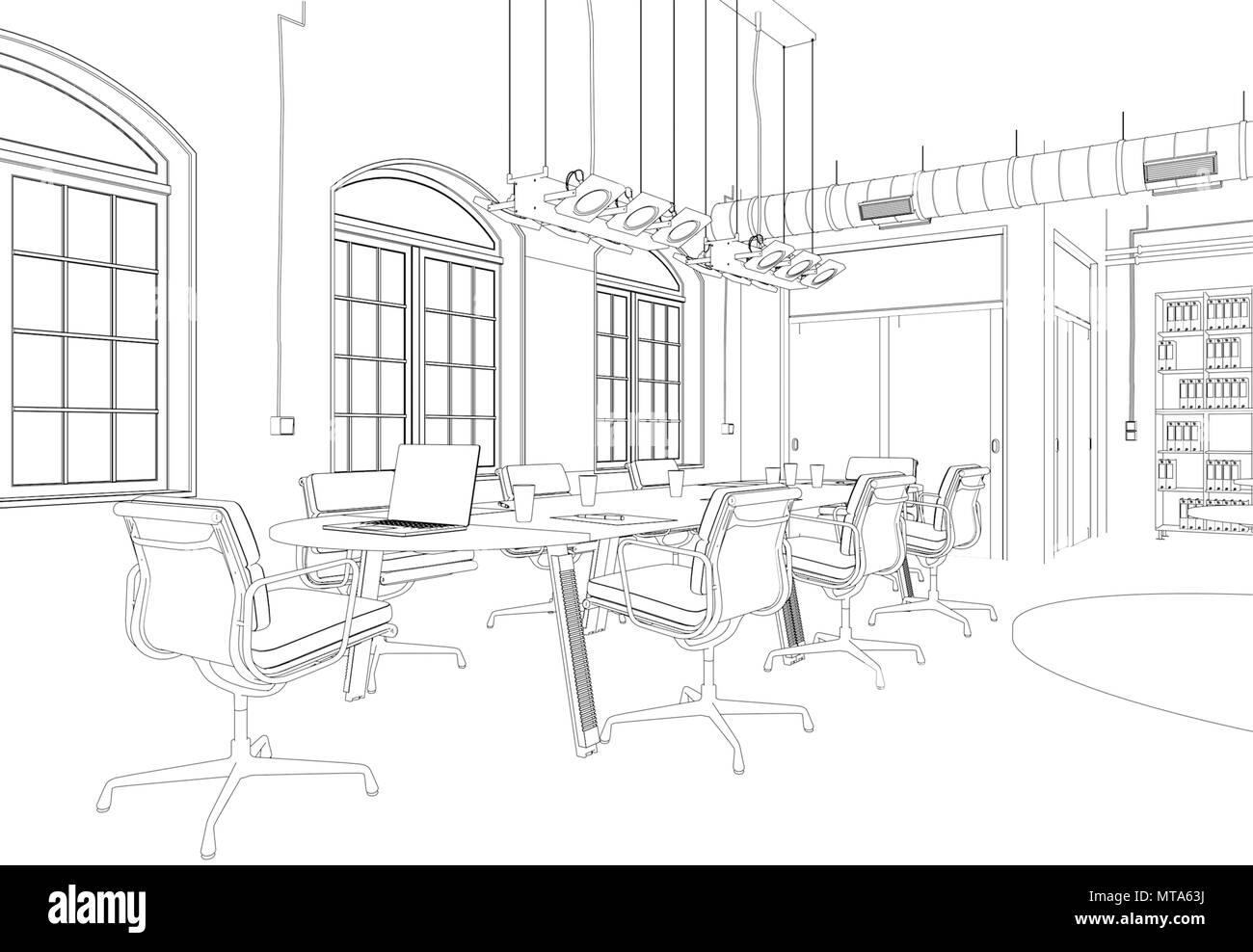 Interior Design Big Office Room With Desks Custom Drawing Stock Photo Alamy