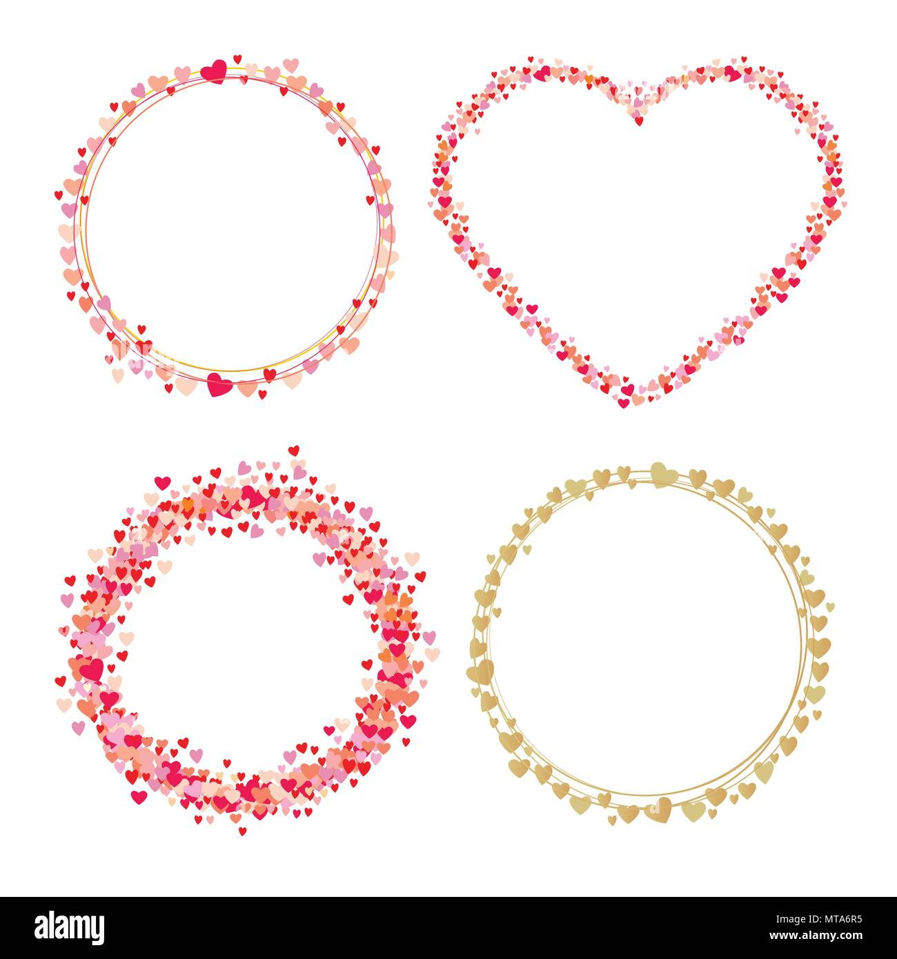 set of frames made from hearts cute round borders with space for