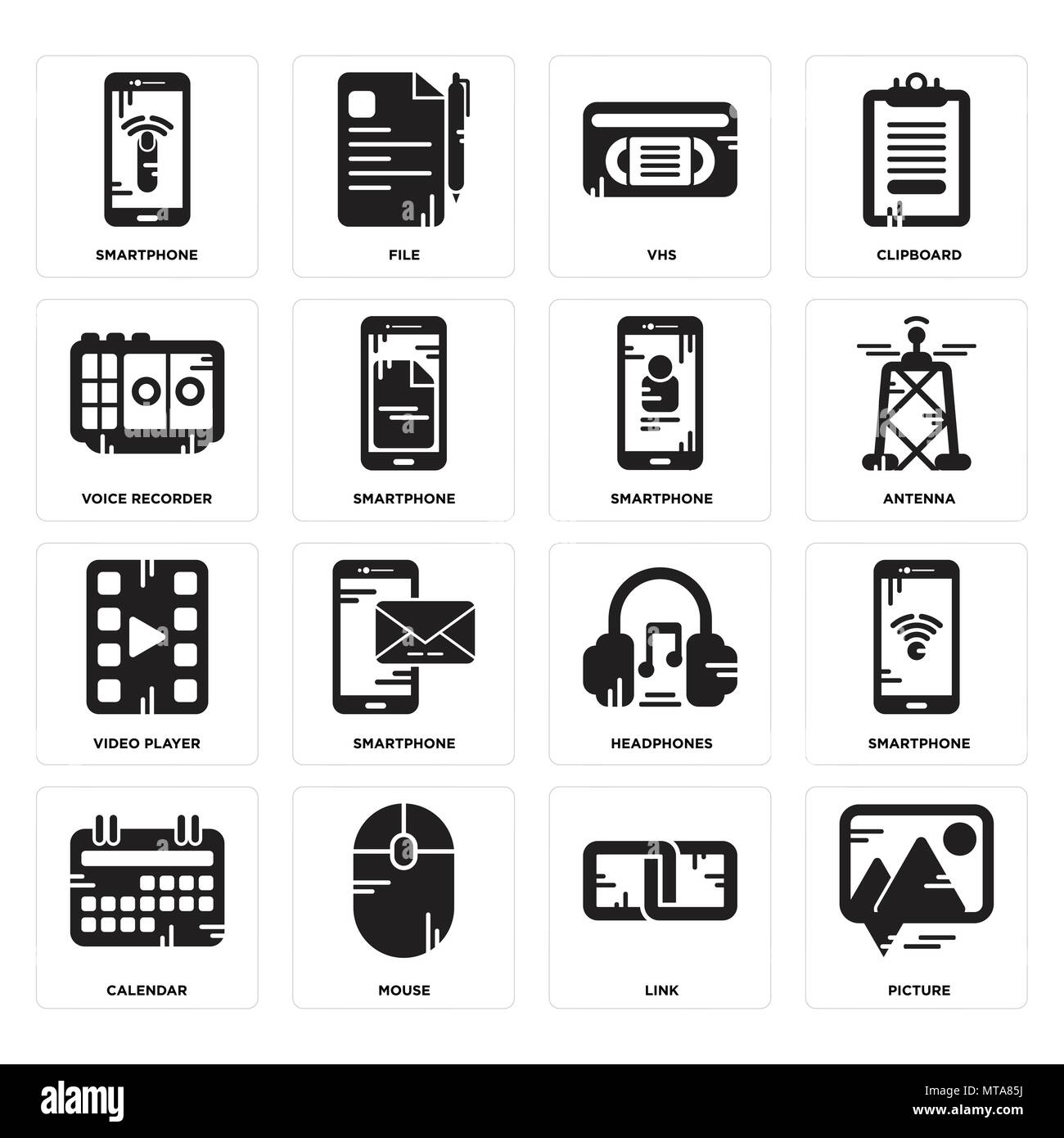 Set Of 16 simple editable icons such as Picture, Link, Mouse