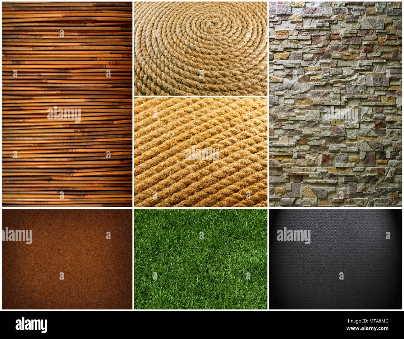 Collection of textures backgrounds. Bamboo texture with natural patterns. Beautiful green grass. Pattern of Modern Brick Wall - Stock Image