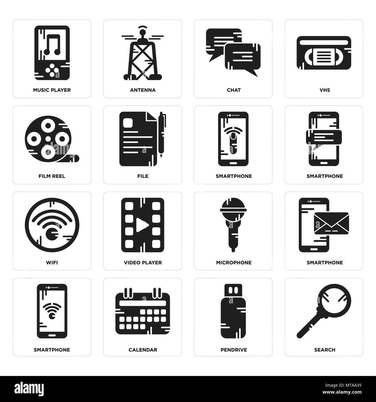 Set Of 16 simple editable icons such as Search, Pendrive, Calendar