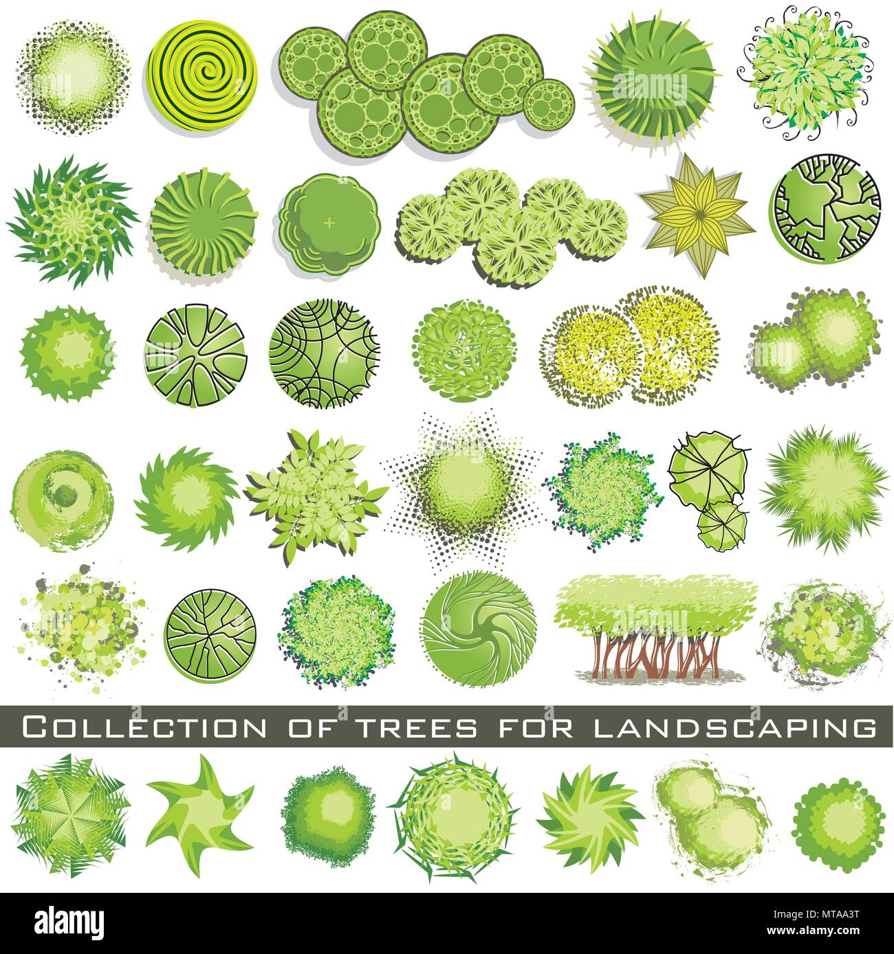 Trees and bush item top view for landscape design, vector icon Stock