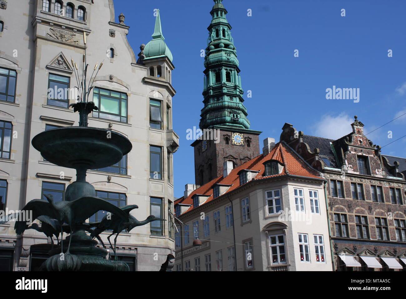 Amagertorv, central pedestrian area in Storkespringvandet, Copenhagen, Denmark with Stork Fountain - Stock Image