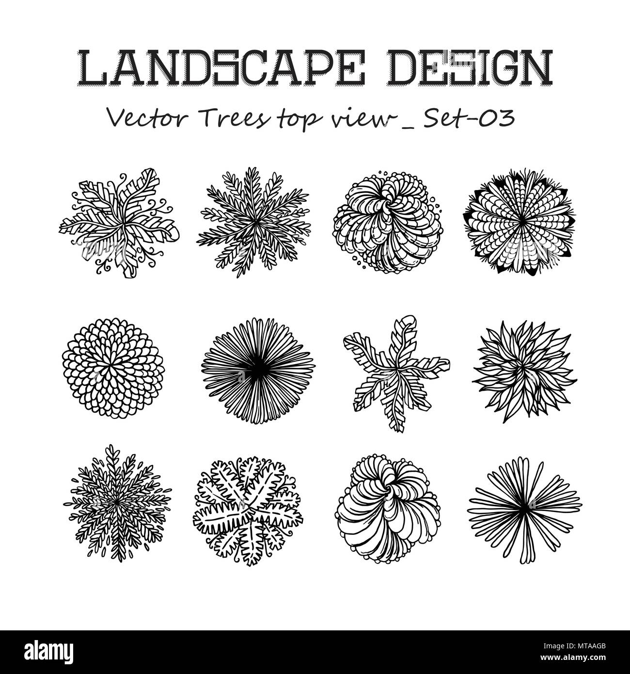 Trees top view. Different plants and trees vector set for architectural or landscape design. View from above Stock Vector