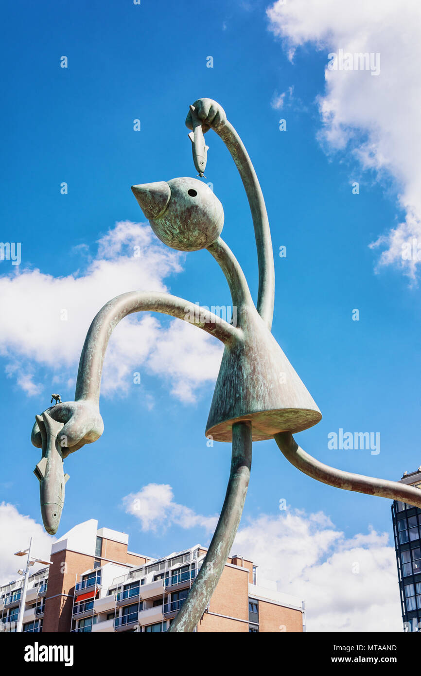 Scheveningen, The Netherlands, August 9, 2017: On the beach promenad you will find a group of statues called statues of the sea. - Stock Image