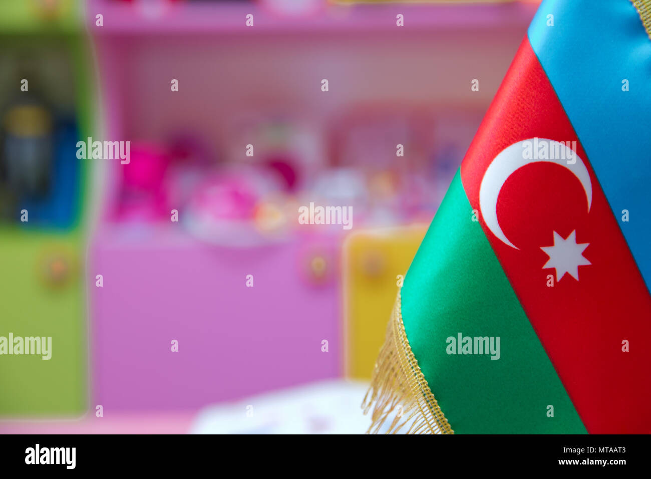 Tooth pick wit a small paper flag of Azerbaijan Stock Photo