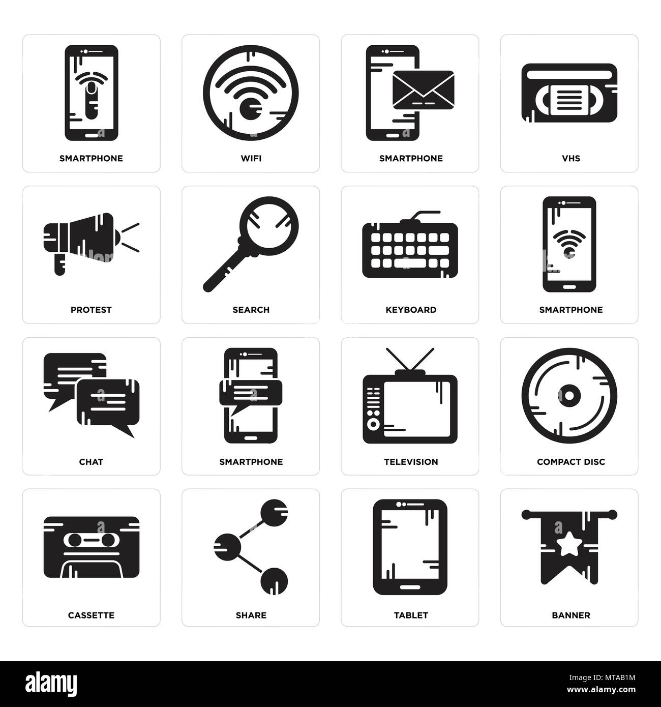 b5e368a15952c Set Of 16 simple editable icons such as Banner