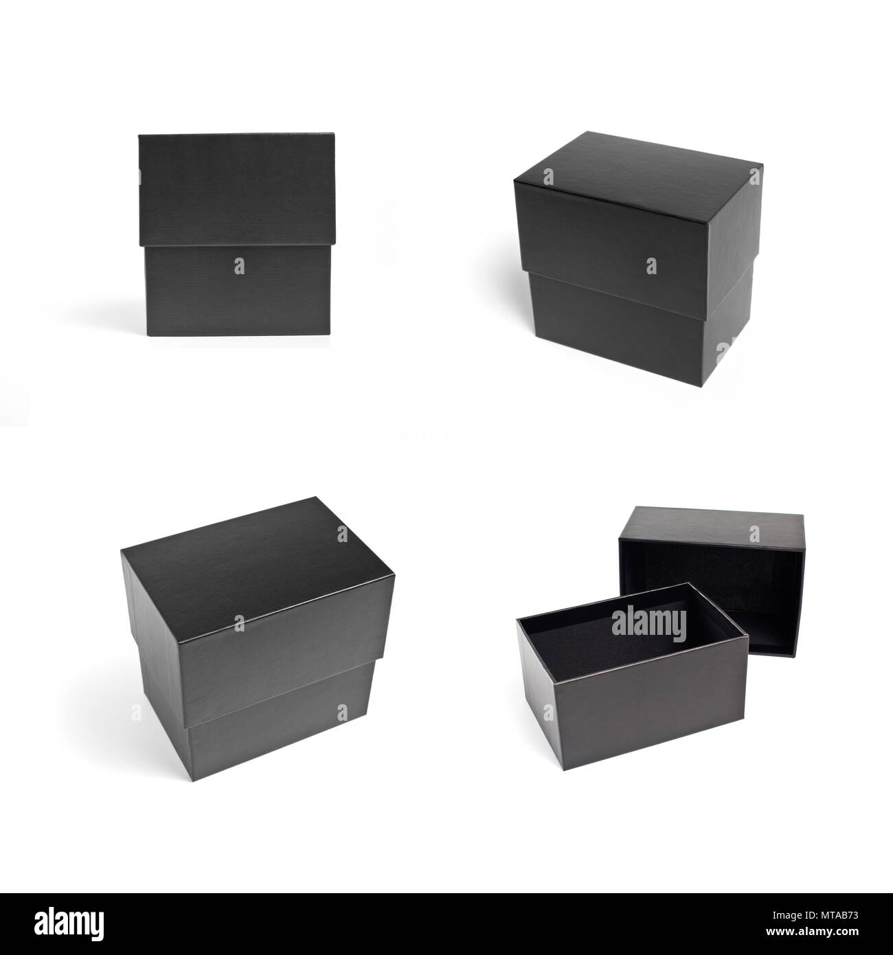 Set of closed and opened boxes for packaging on a white background. Different point of view of black boxes. Mockup for advertising and branding - Stock Image