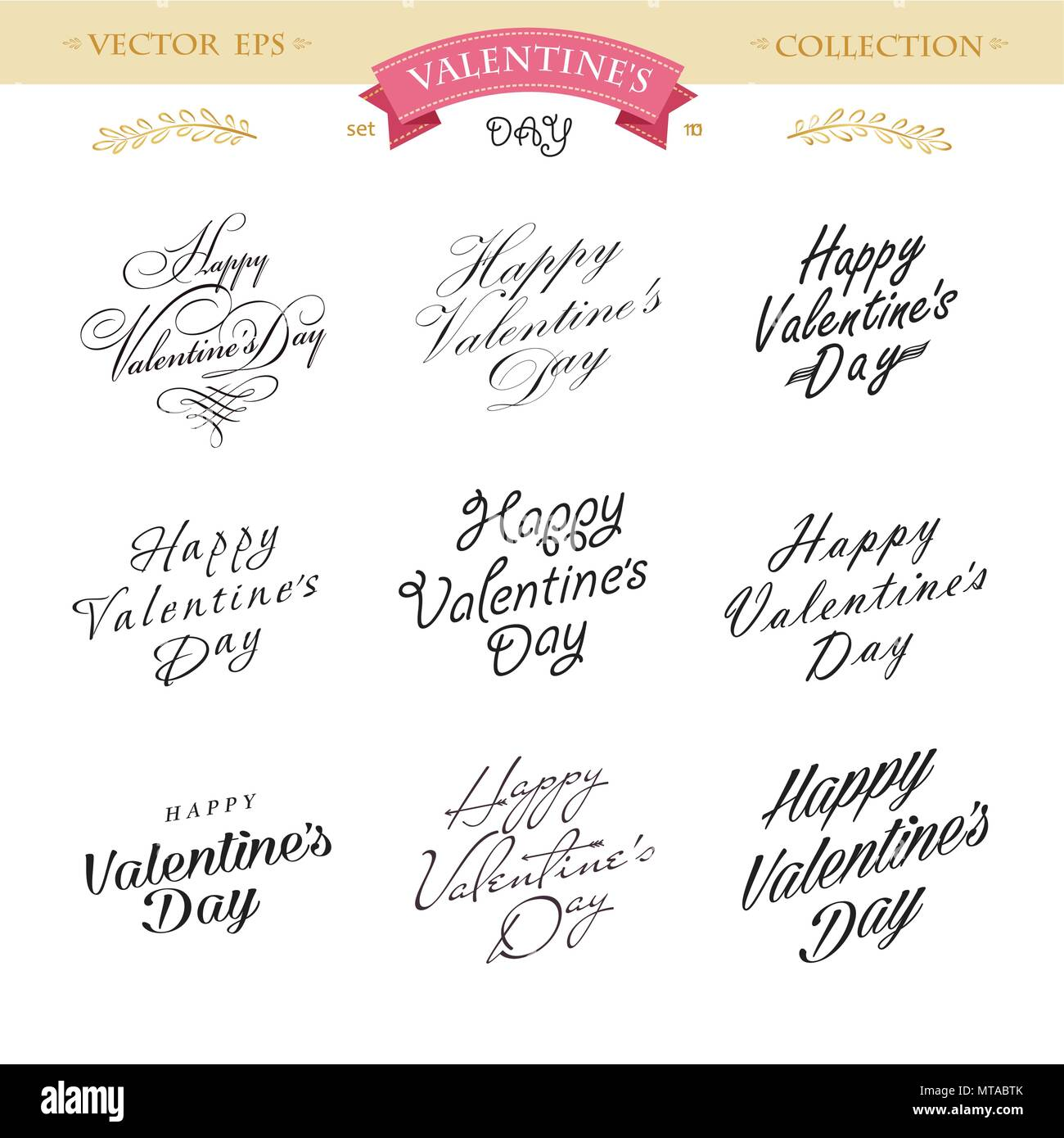 Romantic Valentines day lettering set. Calligraphy postcard or poster graphic design lettering element. Hand written calligraphy style valentines day  - Stock Image