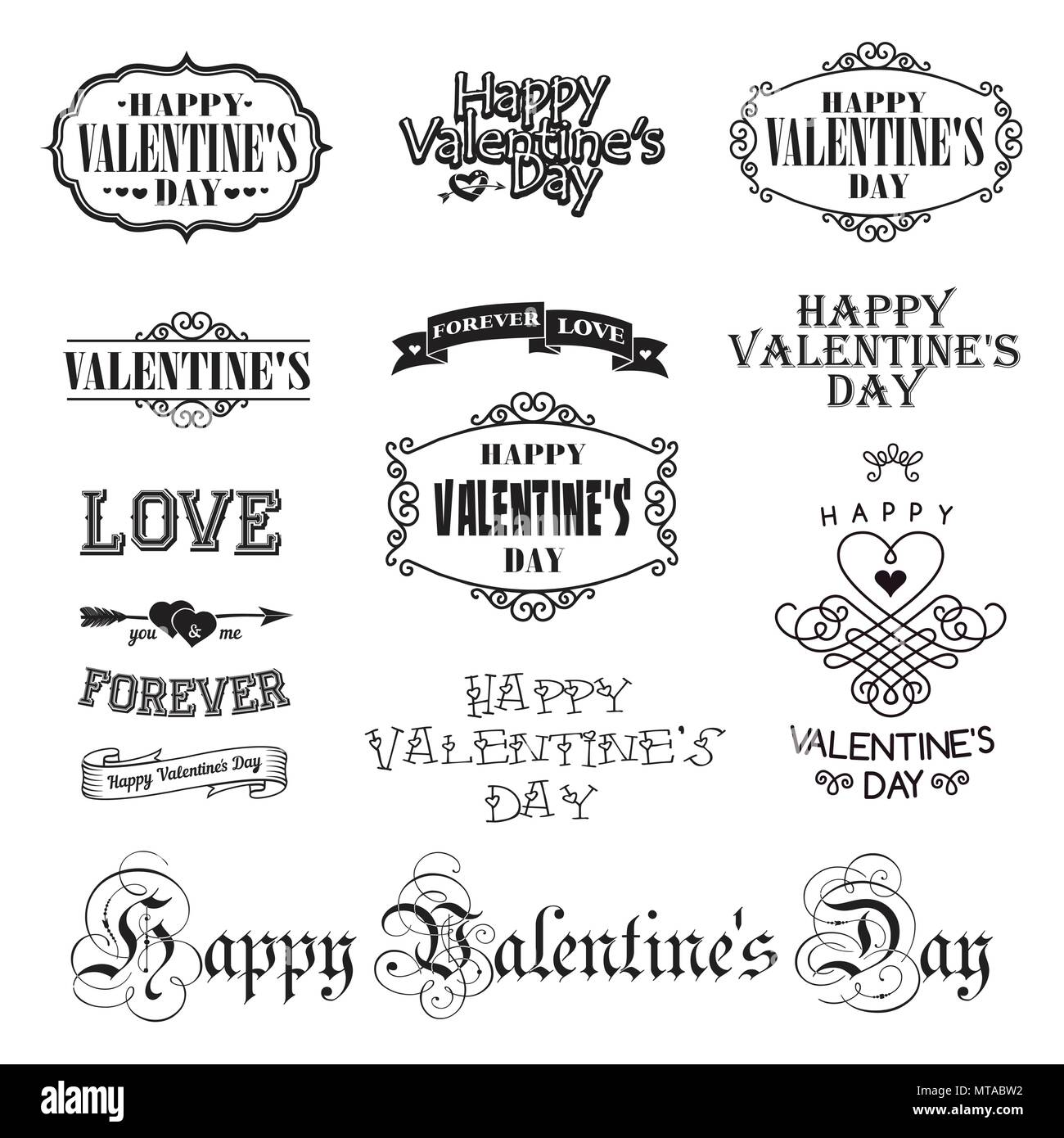 Vector photo overlays, hand drawn lettering collection, inspirational quote. Valentine day labels set. Calligraphy postcard or poster graphic design l - Stock Image