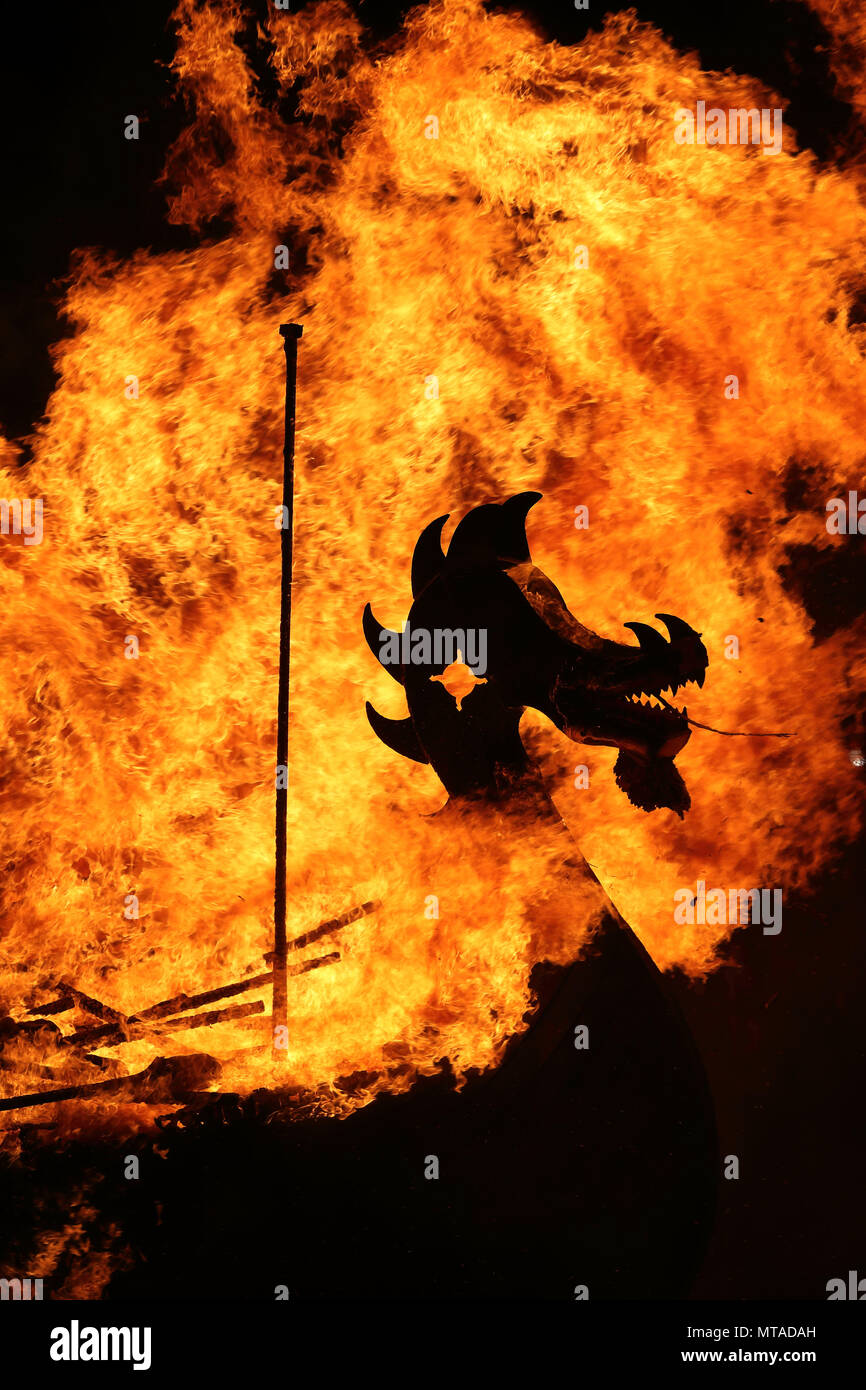 Up Helly Aa burning galley Stock Photo