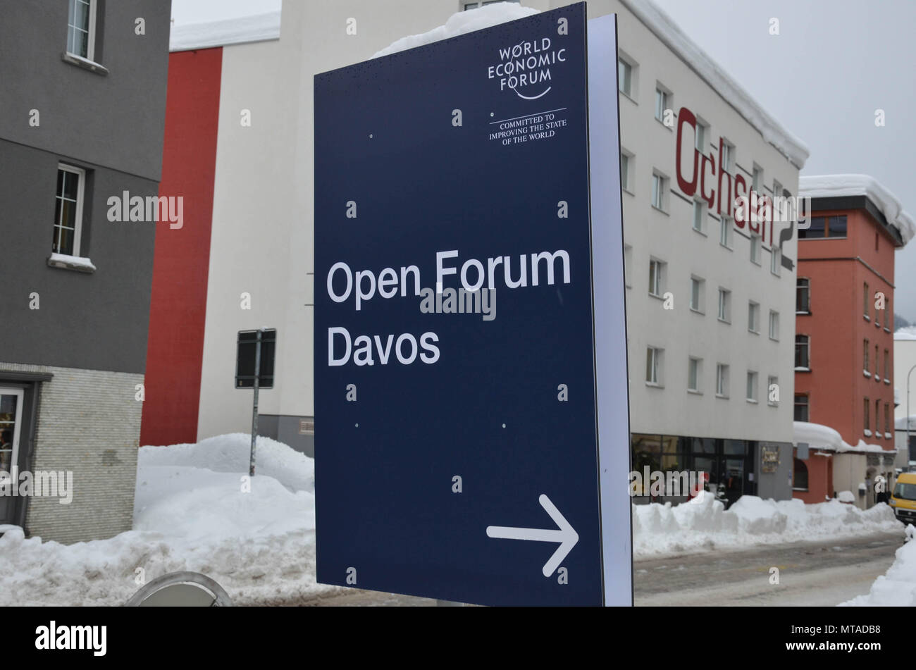 Open Forum sign, Davos, host town of the World Economic Forum, Switzerland, January 2018 - Stock Image