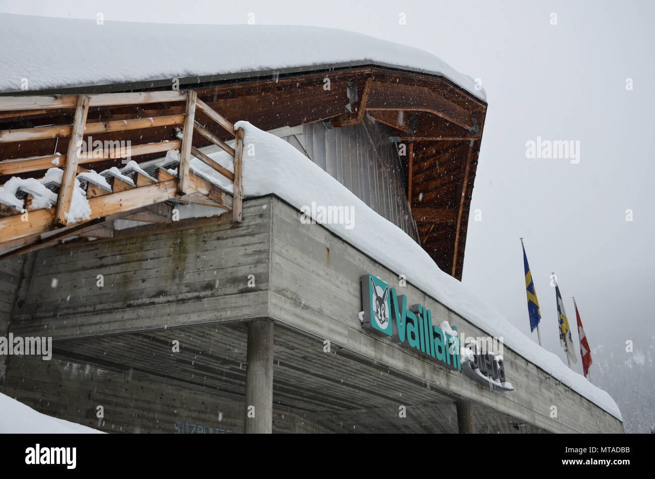 Vaillant Arena, home of HC Davos ice hockey club, Davos, host town of the World Economic Forum, Switzerland, January 2018 - Stock Image