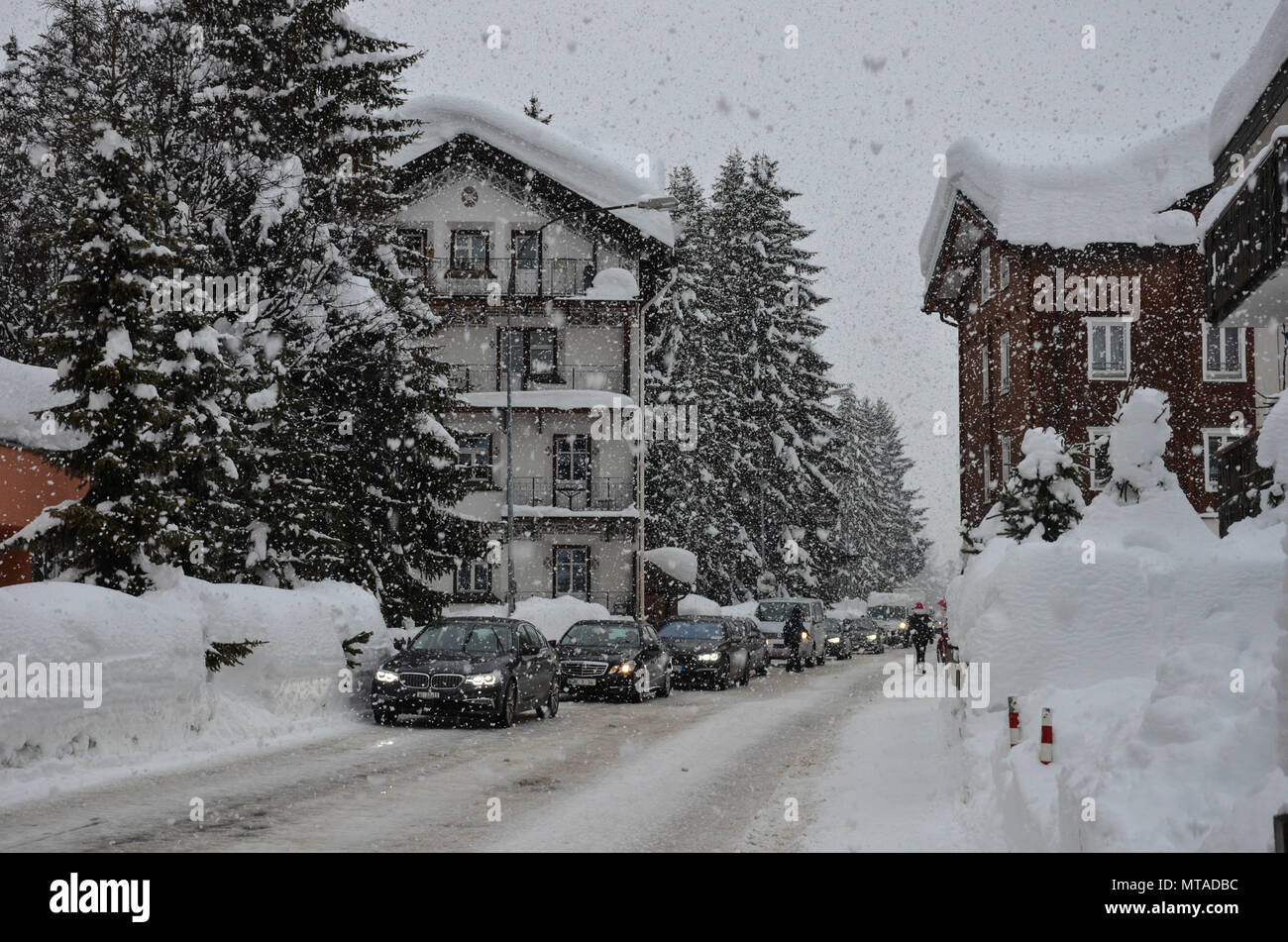 Davos, host town of the World Economic Forum, Switzerland, January 2018 - Stock Image