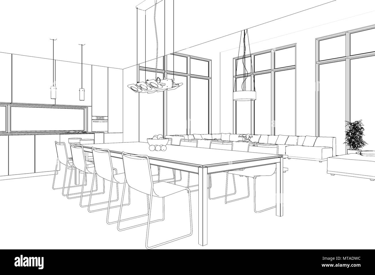 Interior Design Modern Loft Dining Room Custom Drawing Stock Photo