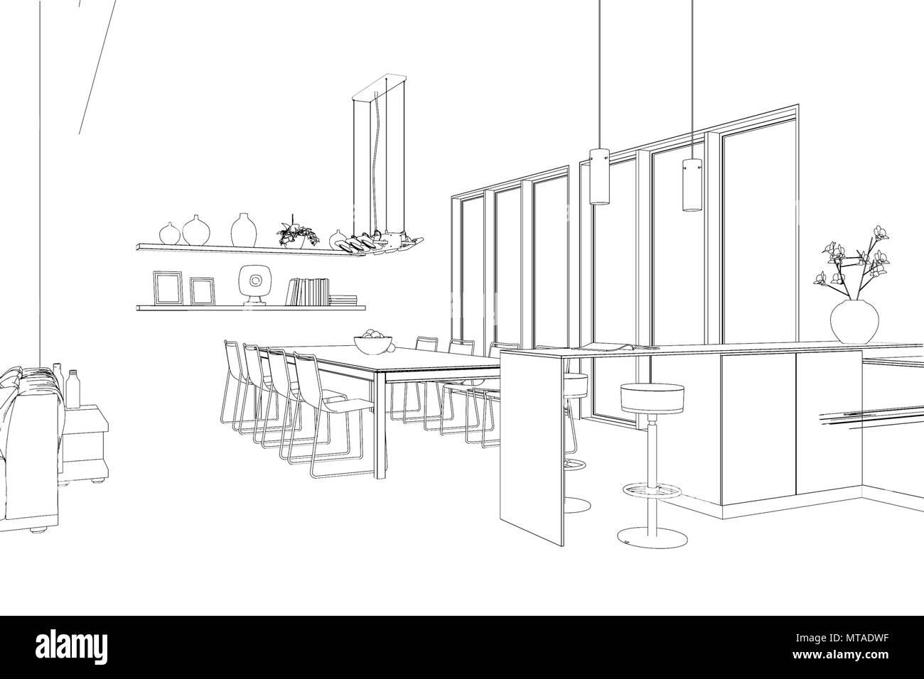 Interior Design modern Loft custom Drawing Stock Photo ... on interior design board layout, interior design plan view, interior design flowchart, interior design block diagram,