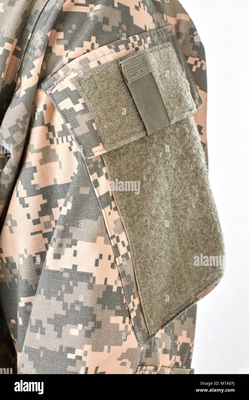 Military clothes and velcro. White isolated background. - Stock Image