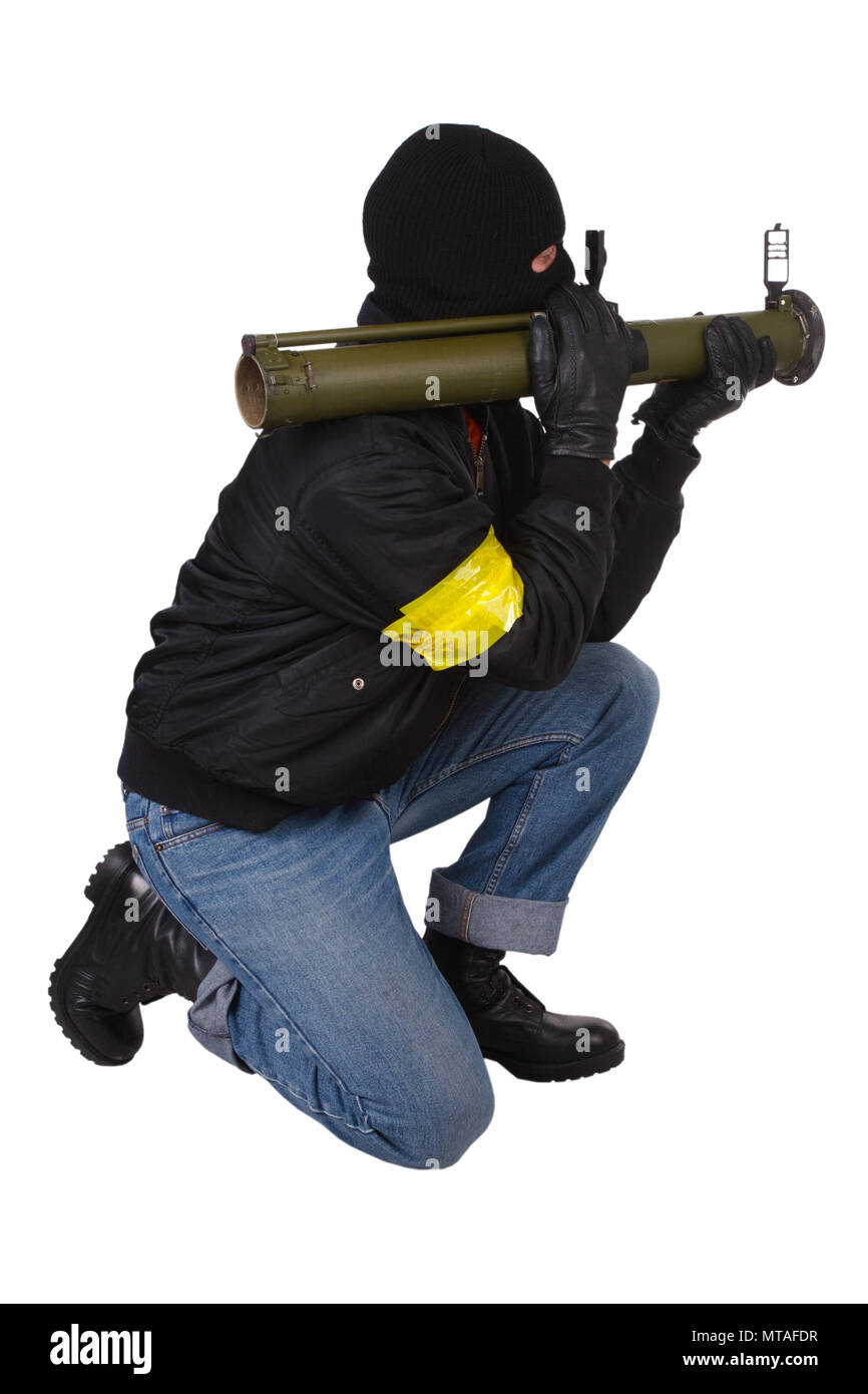 mobster with bazooka grenade launcher isolated on white background - Stock Image