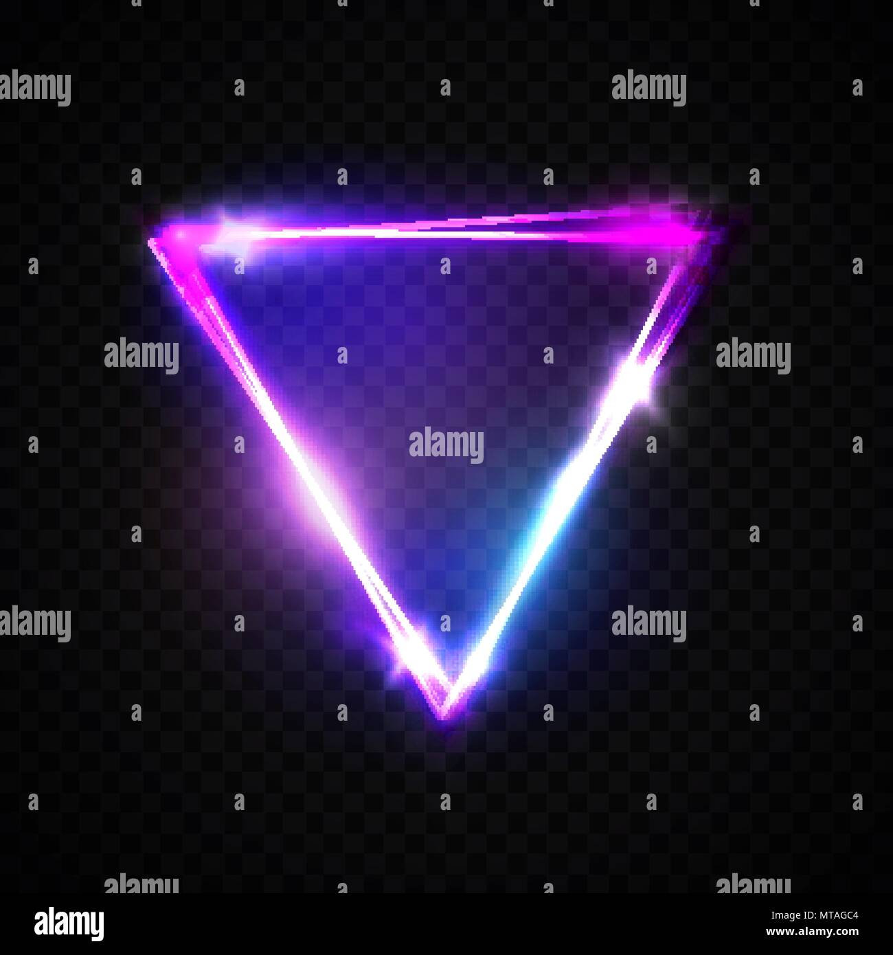 Neon Sign Triangle Background Glowing Electric Abstract Frame On