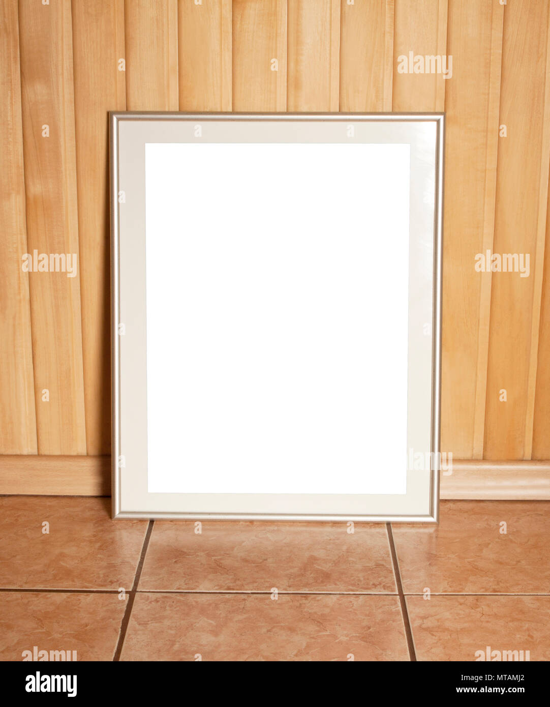 blank blackboard frame on wooden wall template mock up for adding