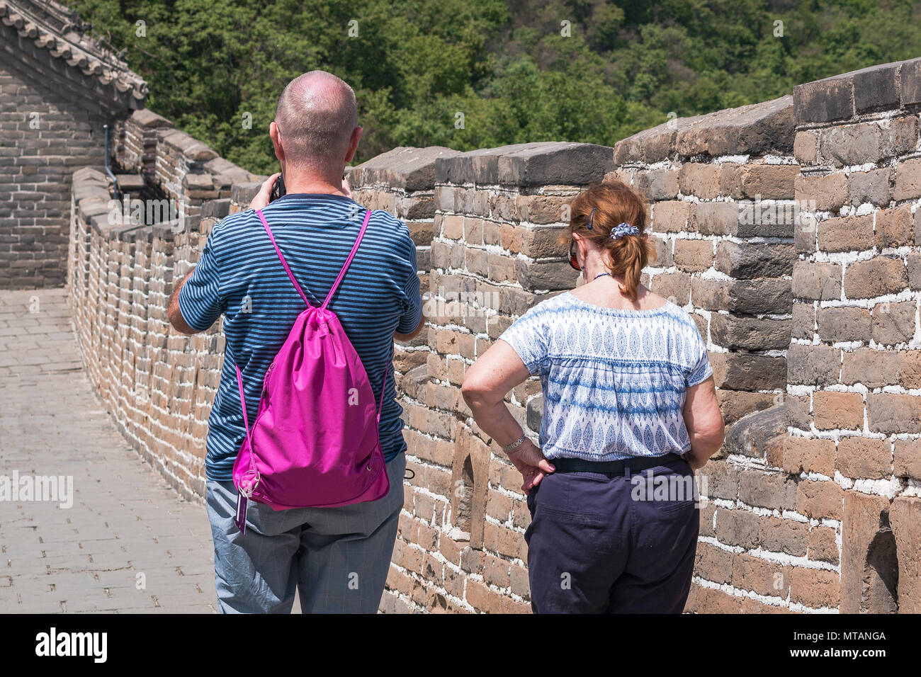 Tourists on the Great Wall of China - Stock Image