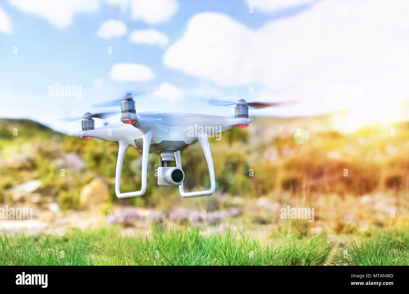 Drone remote control with camera for photo and video recording and remote control fpv flying. - Stock Image