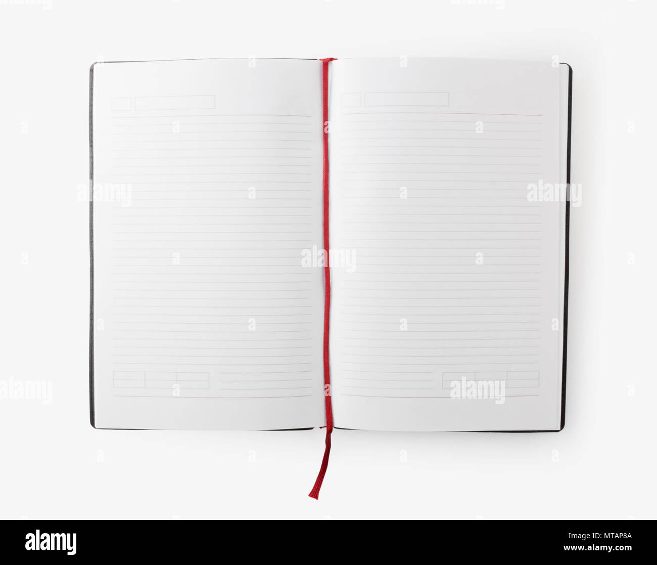 open blank book with lines red bookmark on white background stock