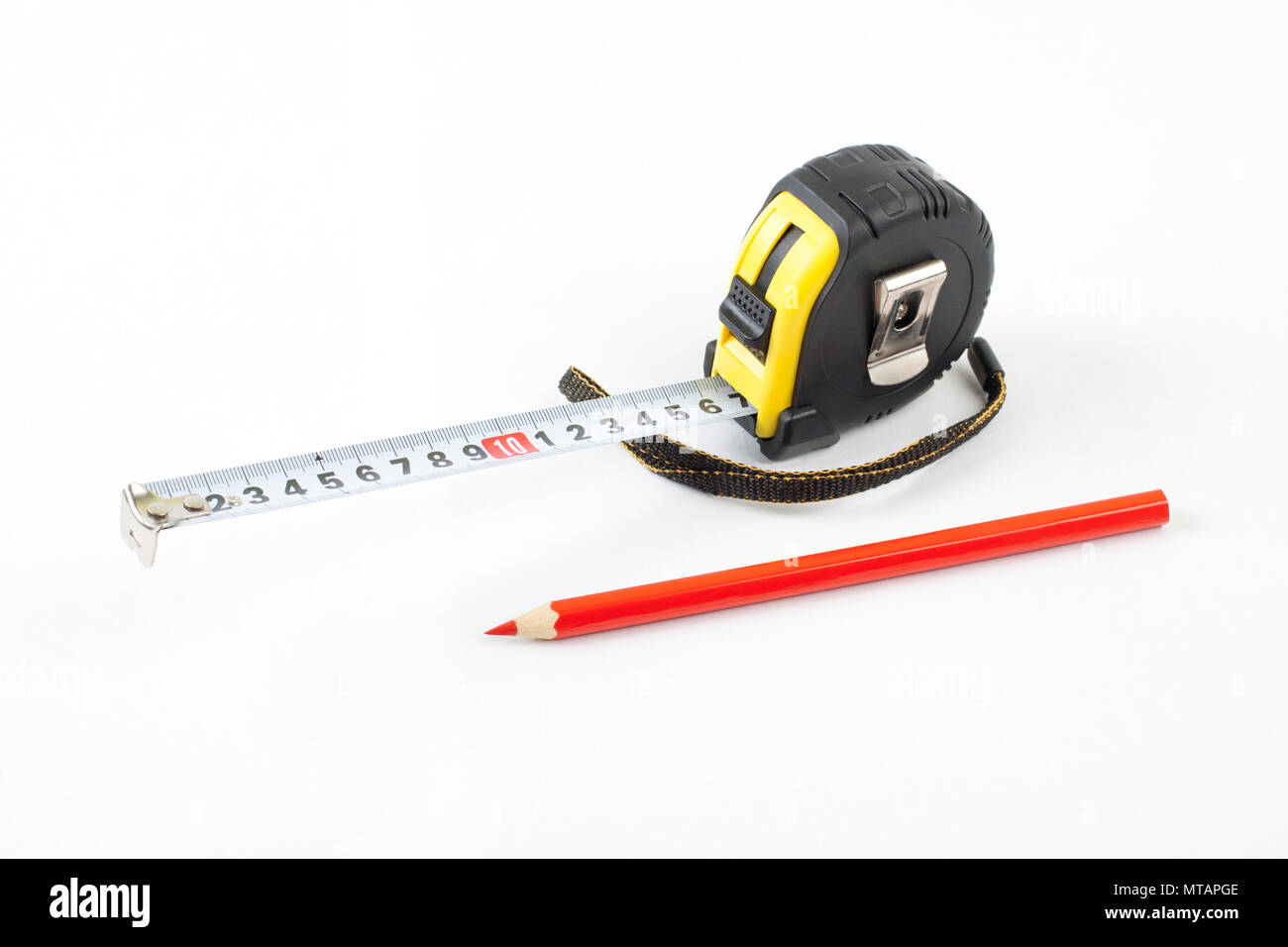 Black Tape Measure With Red Pencil On A White Background Stock Photo