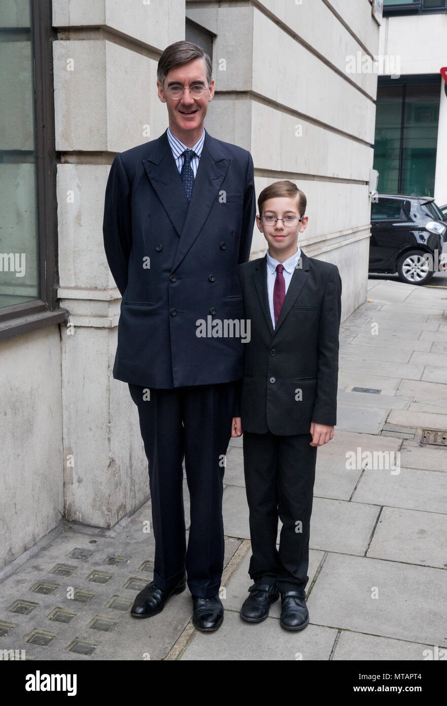Jacob Rees-Mogg, MP for North Somerset at the BBC Studios to appear on 'The Andrew Marr Show' with his eldest son Peter Theodore Alphege - Stock Image