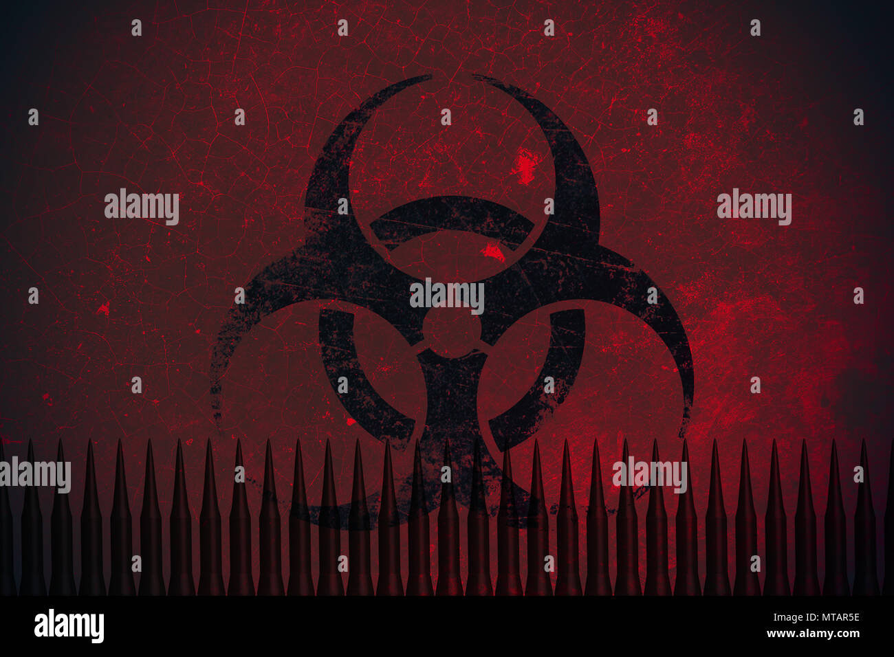 Biochemical missile bomb with Bio hazard sign concept. - Stock Image