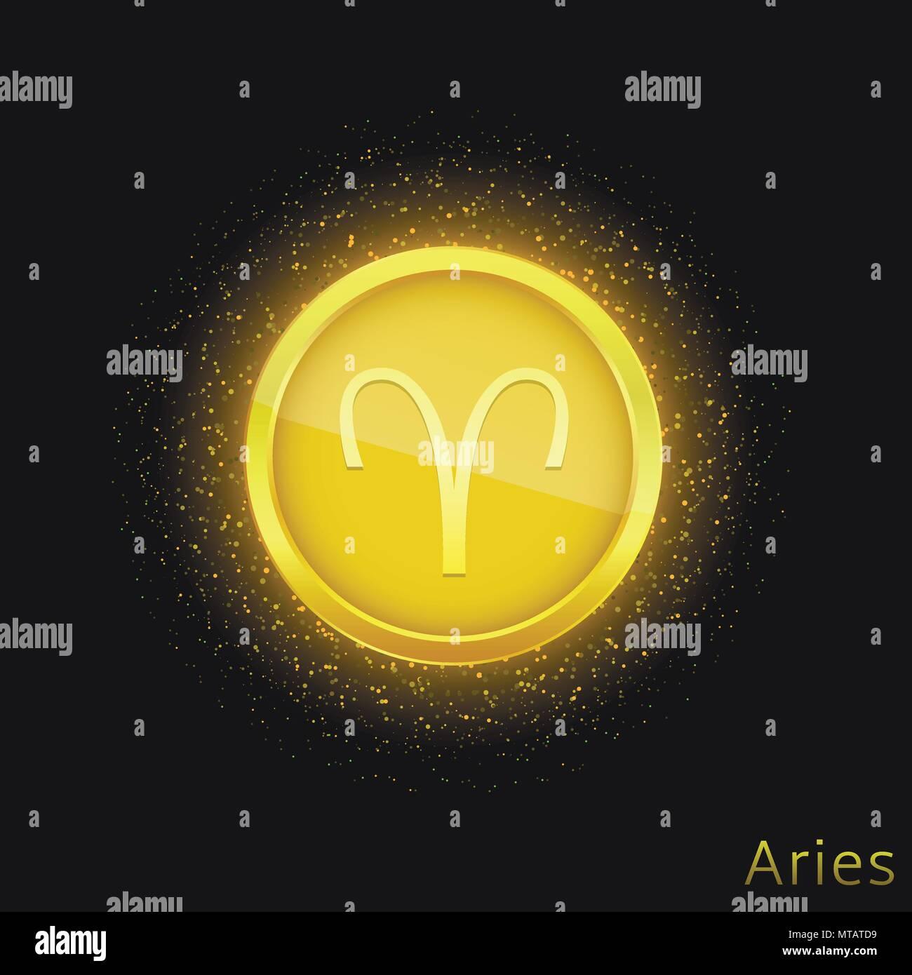 Golden Aries Sign Stock Vector Art Illustration Vector Image