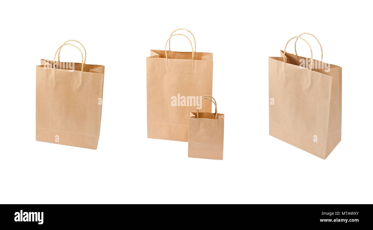 Different point of view of shopping bags on white background. Mockup of blank of shopping bags with handle for advertising and branding - Stock Image