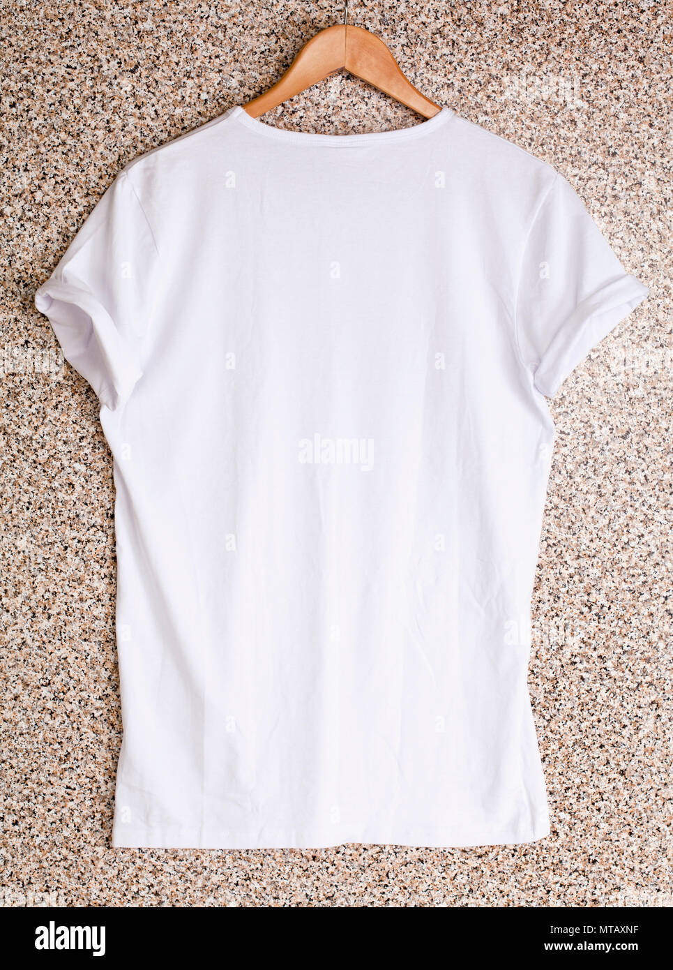 White T Shirt Template On Hanger Ready For Your Own Design Stock