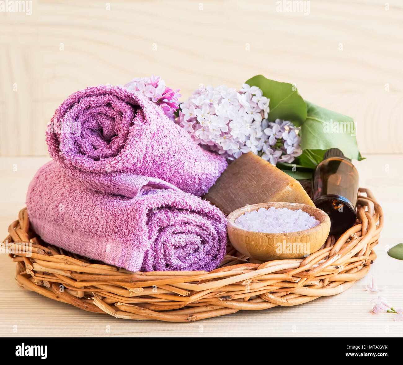 Salone Tray Surreal And Unconventional: Organic Skincare And Spa Products With Lilac Flowers In A