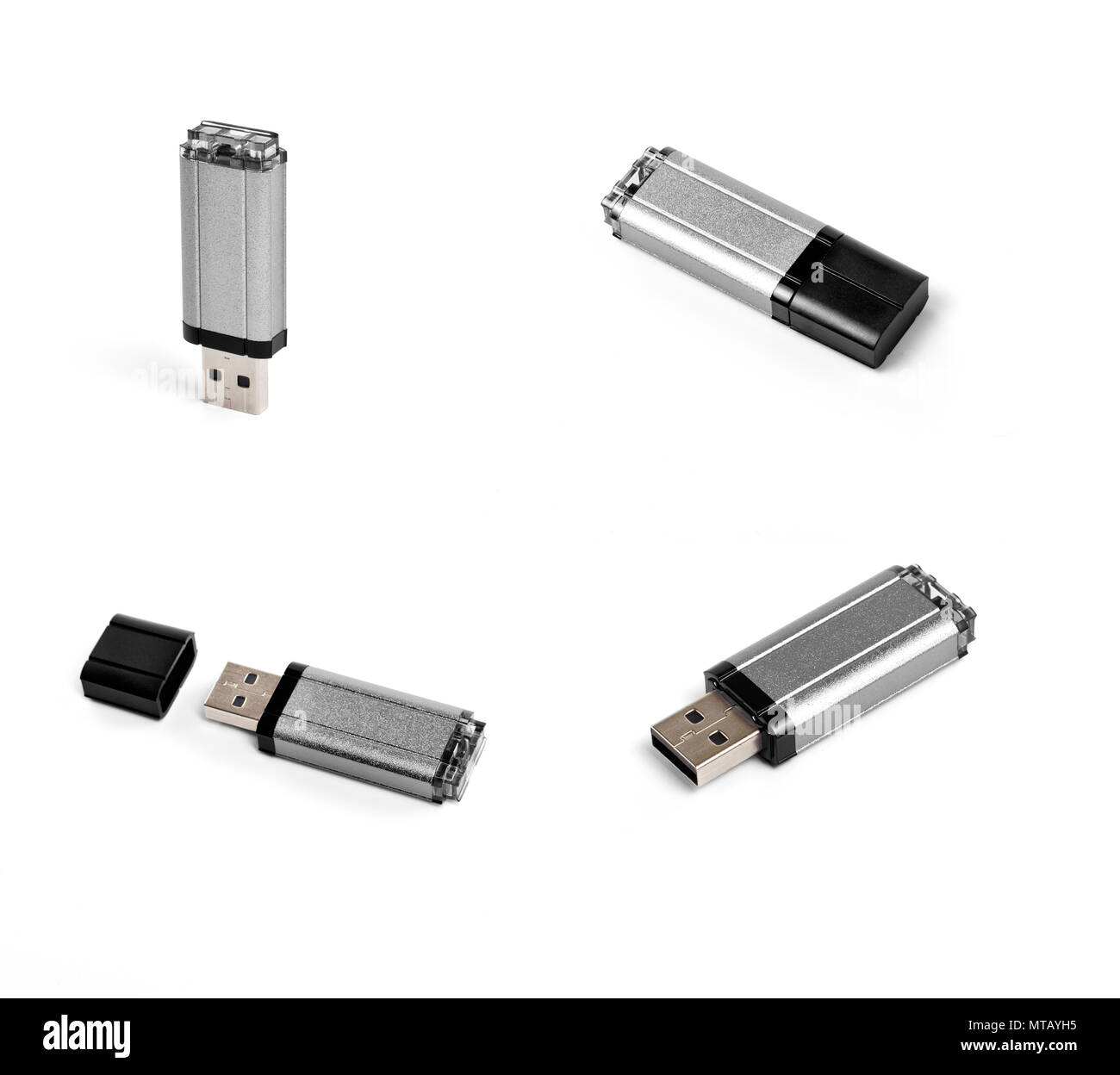 Different point of view of usb flash drive on a white background - Stock Image