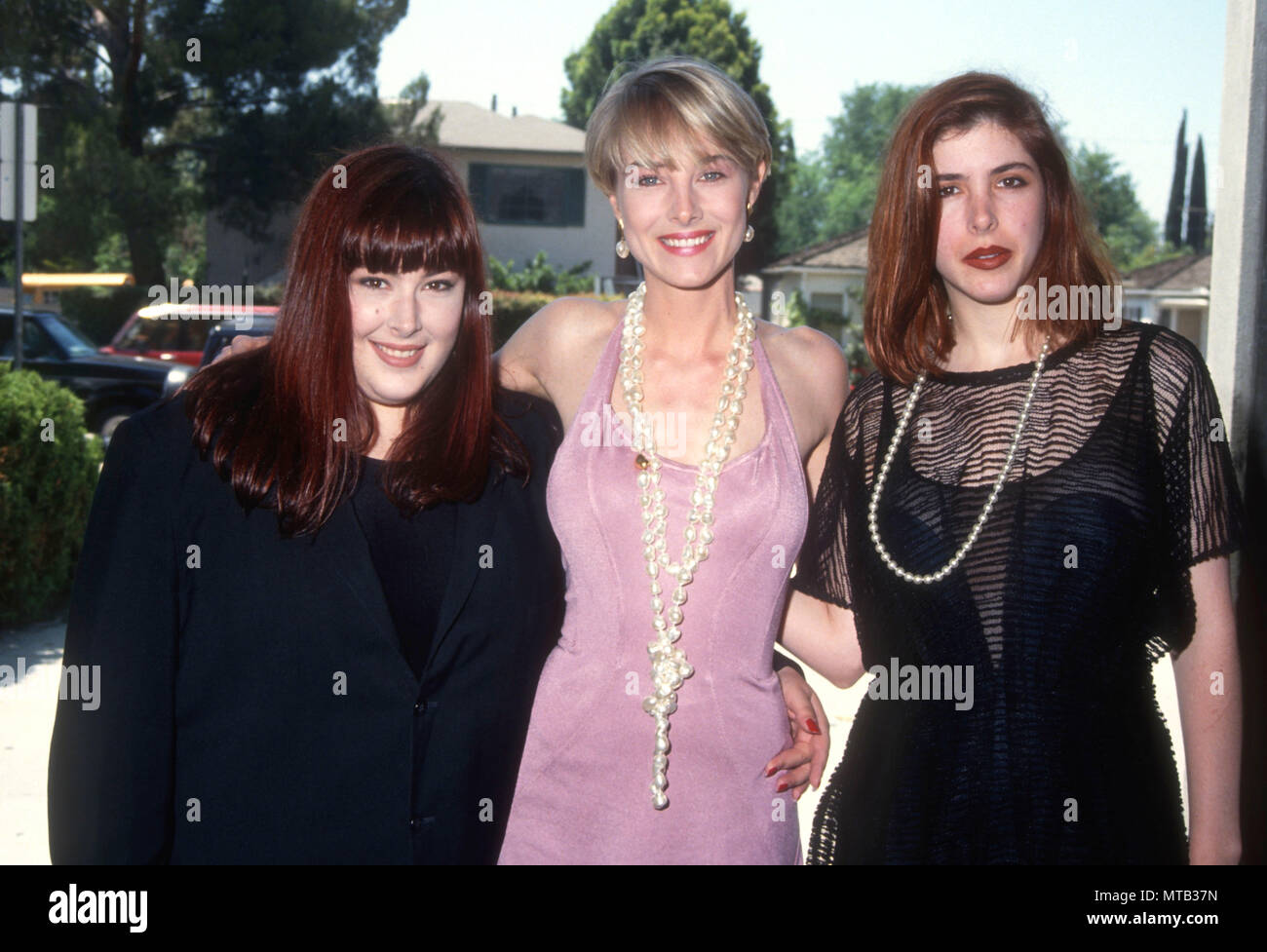 LOS ANGELES, CA - JUNE 3: (L-R) Singers Carnie Wilson, Chynna Phillips and Wendy Wilson of Music group Wilson Phillips attend event for National Sober Driving Campaign on June 3, 1991 in Los Angeles, California. Photo by Barry King/Alamy Stock Photo - Stock Image