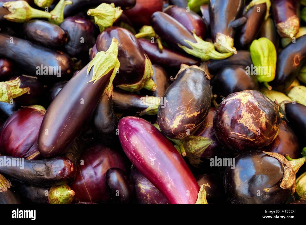Heap of fresh Eggplants on a market counter - Stock Image