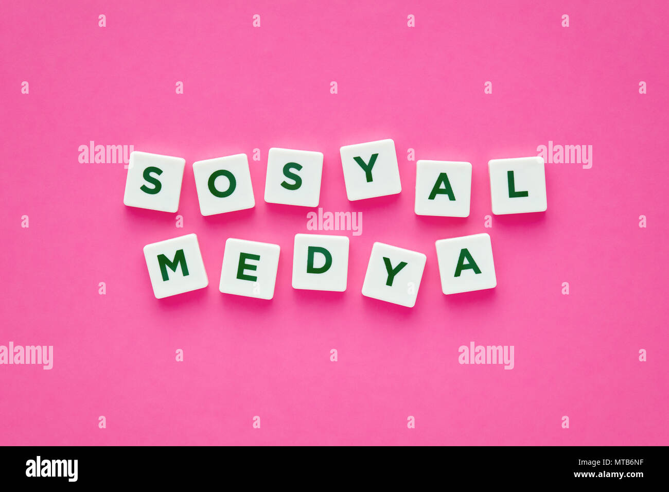 social media words written in turkish with green letters on white