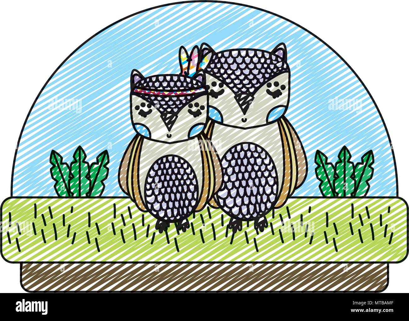 doodle cute owls animals together in the countryside - Stock Image