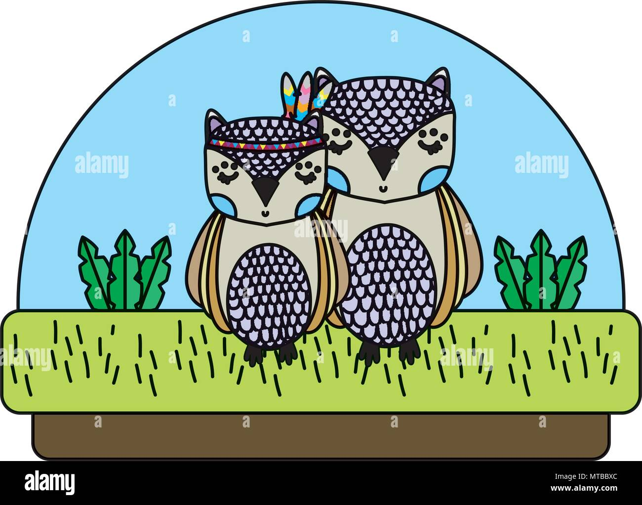 color cute owls animals together in the countryside - Stock Image