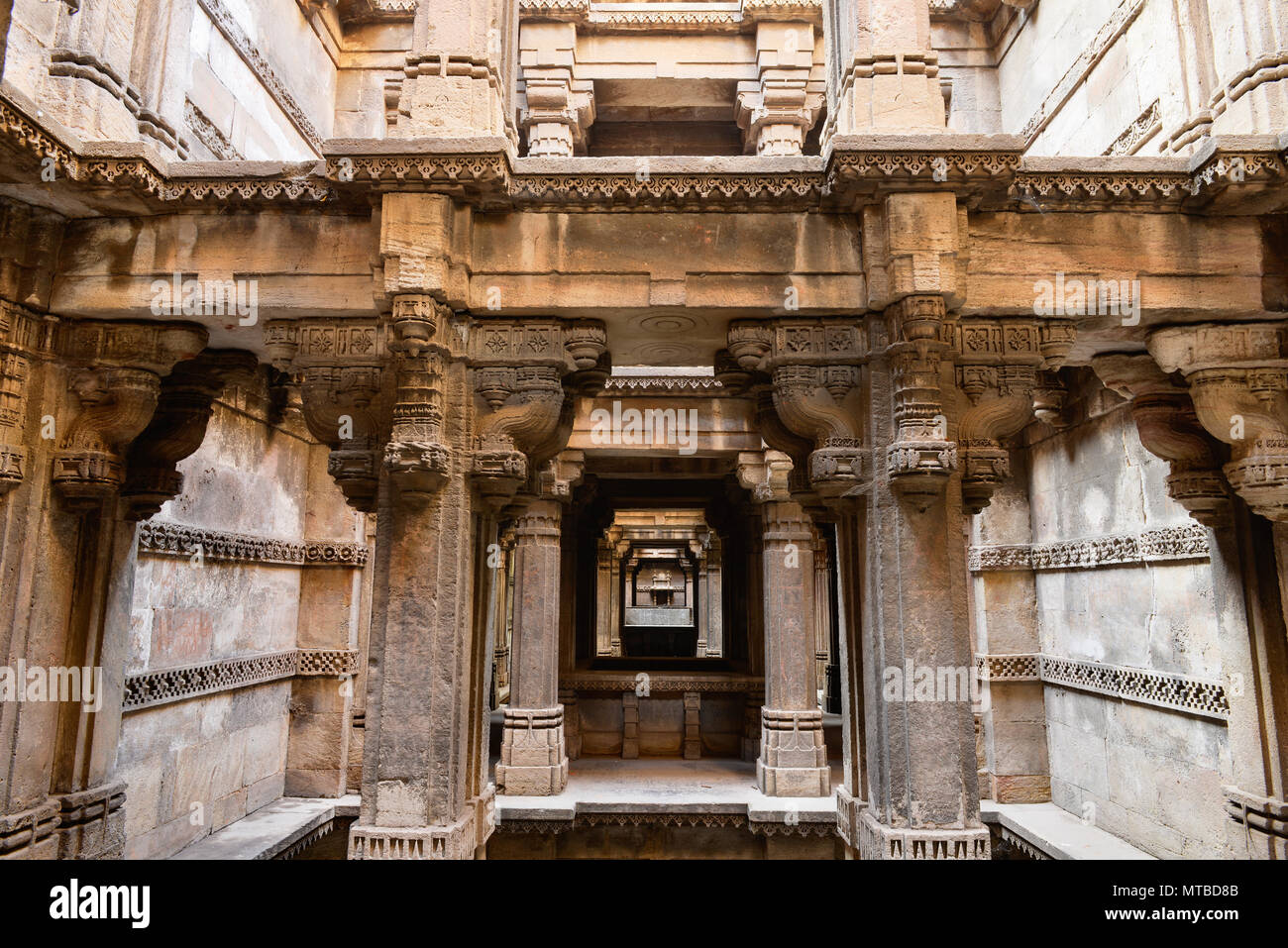 Dada Hari ni Vav stepwell is a Hindu water building in the village of Adalaj, close to Ahmedabad town in the Indian state of Gujarat. - Stock Image