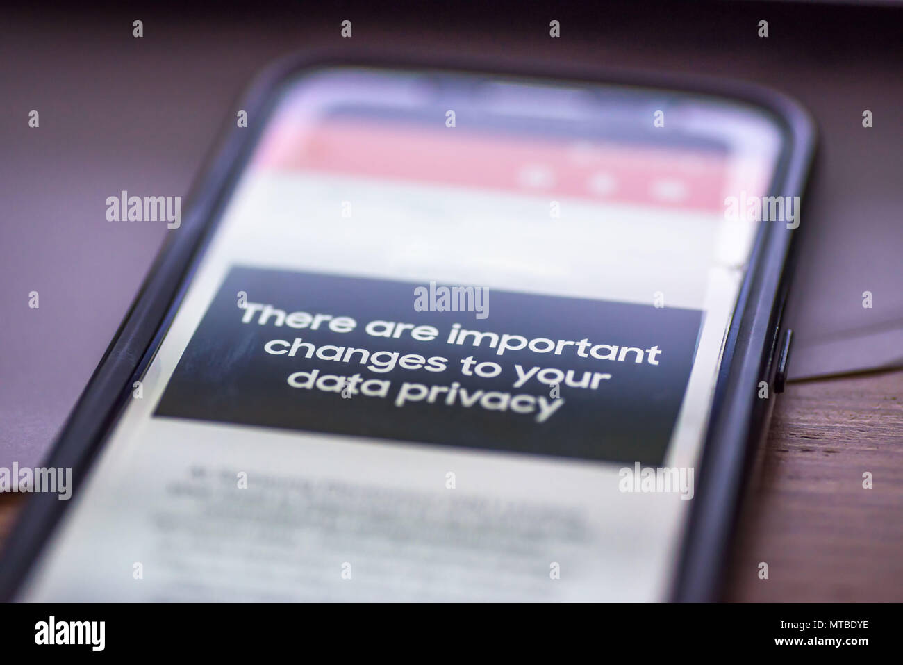 General Data Protection Regulation - GDPR - closeup smartphone message There Are Important Changes To Your Data Privacy. - Stock Image