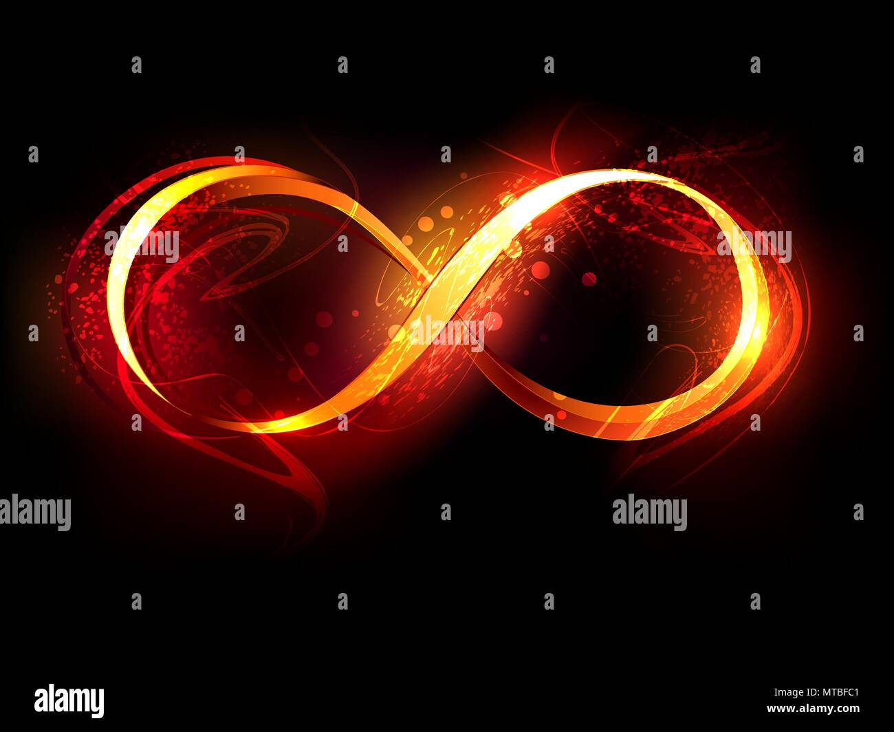 Symbol Of Infinity Made Of Fire And Flame On Black Background Stock